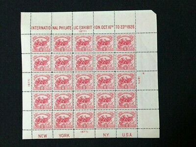 U.S: MINT #630 WHITE PLAINS SHEET NEVER HINGED OG CV $500