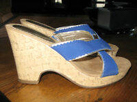Size 7 Ladies Cork and Cobalt Blue Slip on Wedges