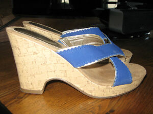 Size 7 Ladies Cork and Cobalt Blue Slip on Shoes