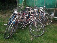 Job lot 7 vintage classic bikes for restoration. Hercules, Raleigh, viscount, bsa