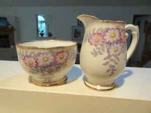 Roslyn English Bone China - Sugar & Creamer  Bracken Pattern