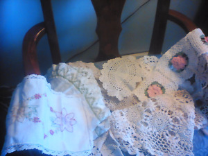 From Estate-11 old table doilies  found in old cedar chest-LOOK