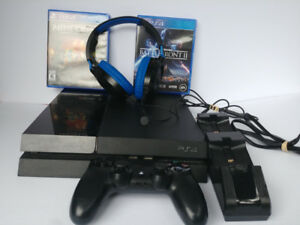 PS4 -  2 games -Turtle Beach Headset - One Controller - Charger
