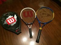 "3 tennis rackets Wilson 21"", Dunlop 25"" and Donnay 27"""