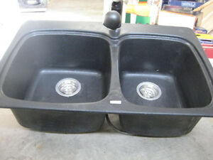 Double Blanco sink with matching Tap