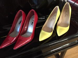 Patent Leather Red High Heels and Yellow High Heels -Gently used