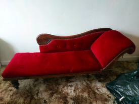 Red Velvet Chaise Lounge