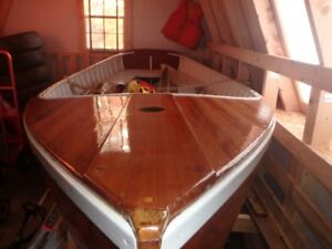 Hand built wooden sailboat