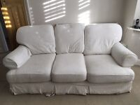 2 & 3 seater white sofas for sale, washable covers.