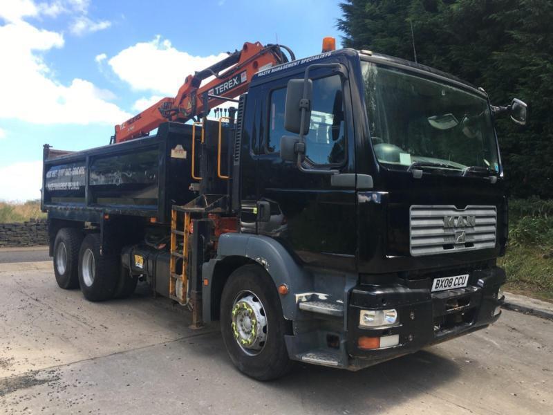 06adb2bf432d40 2008 08 MAN TGM 26.280 6x4 steel tipper Atlas TLC 118.2 crane and grab