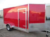 6 x 12 V-Nose15' to tip of nose,Red RV Door,rear Ramp,3 Yr.War.