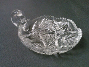 Collectible Antique Vintage Cut Crystal Finger Loop Candy Dish