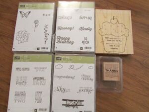 Stampin' Up wood mounted stamp sets, brand new/unused!