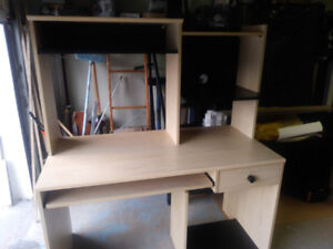 BLACK AND NATURAL Computer/office wood , desk/table with HUTCH,