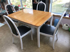 Painted Birch Kitchen Table with 4 chairs