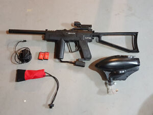 spyder mr2 fully automatic paintball gun with electric hopper