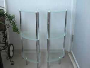 Pair of 3-tiered glass corner shelves