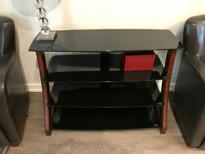 DARK WOOD & SMOKED GLASS ENTERTAINMENT UNIT