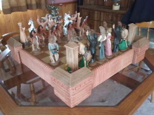 Cowboys & Indians chess set with turrets