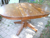 Antique oak oval dining table drop leaf to refinish