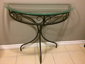 Glass top half-moon table and matching mirror