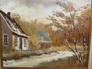 superbe grande peinture huile signée /  SIMARD / BAIE ST PAUL