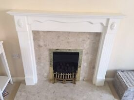 Gas fire, surround and marble back.