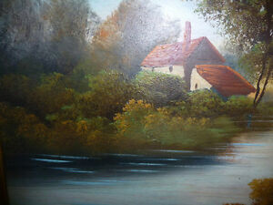 """Vintage Oil Painting, """"Early Morning River"""" 1920's Stratford Kitchener Area image 7"""