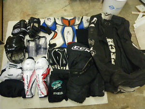 Complete set of mens large size hockey equipment