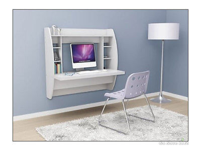 Computer Floating Desk Home Office Wall Mounted Wood Storage Shelves White