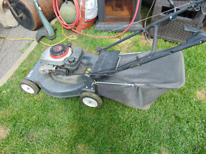 one gas lawnmower with bag works well $100  one huge trimmer $25