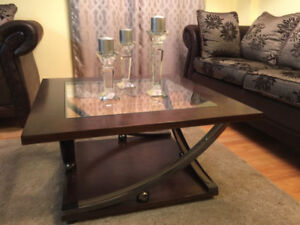 Elegant Dark Wood & Glass Coffee Table With Sweeping Metal Legs