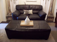 Stylish LARGE Expresso Leather Ottoman for sale