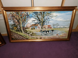 Needlework pictures in frames