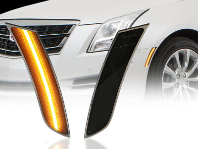 USA Front SMOKE Amber LED Bumper Side Marker Lights For 2013-2017 Cadillac XTS Amber Front Marker