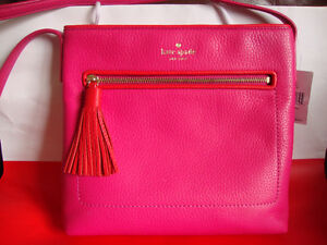 New authentic leather crossbody bag large fuschia pink