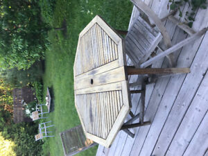 Teak patio table and 4 teak chairs