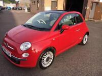 1010 Fiat 500 1.2 ( 69bhp ) LOUNGE Red 3 Door 66673mls MOT March 2019