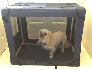 Soft shell collapsible dog cage/carrier