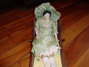 Porcelain head doll and cradle Peterborough Peterborough Area image 4