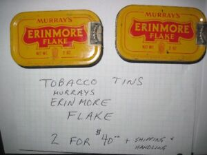 9. Two Vintage Murrays Erinmore flake tobacco tins for sale