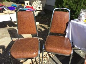 4 Vintage Chairs, Chrome, Faux Leather, Vinyl. Brown Chairs.