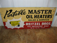 Vintage Advertising Double Sided Metal Sign Reitzel Bros Waterlo