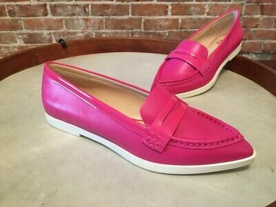 Isaac Mizrahi Madelyn Pink Leather Pointed Toe Boat Shoe Flats 8 NEW