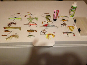Fishing Lures 19 of them plus Plano case and fish attractant $20