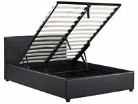 Gas Lift Up Leather Double Bed Frame Also in Single Or King
