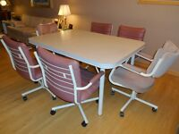 White Kitchen / Dining Room Table with Six Chairs