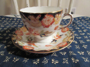 Sutherland China H & M 1930's Cup and Saucer Gold and blue