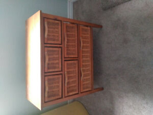 Wicker 6 drawer storage unit
