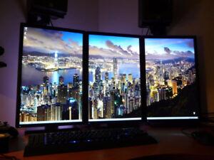 Kit de 3x Mega écrans Dell 23po identiques config Spécial Trio